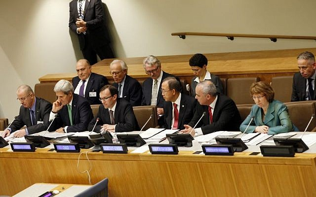 Members of the Ad Hoc Liasion Committee meet at UN headquarters in New York, on Wednesday (photo credit: AP/David Karp)