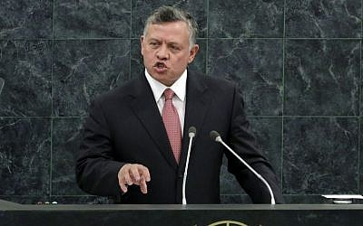 Jordan's King Abdullah II addresses the 68th session of the United Nations General Assembly, Tuesday, Sept. 24, 2013 at U.N. headquarters. (photo credit: AP Photo/Richard Drew)