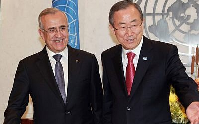 UN Secretary-General Ban Ki-moon, right, meets with Lebanese President Michel Suleiman at UN headquarters in New York, September 25, 2013 (photo credit: AP/David Karp)