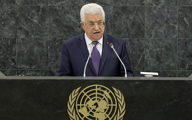PA President Mahmoud Abbas addresses the UN General Assembly, September 26, 2013. (AP/Justin Lane/Pool)
