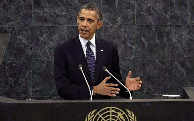 US President Barack Obama addresses the 68th session of the United Nations General Assembly, Tuesday, Sept. 24, 2013. (photo credit: AP Photo/Richard Drew)