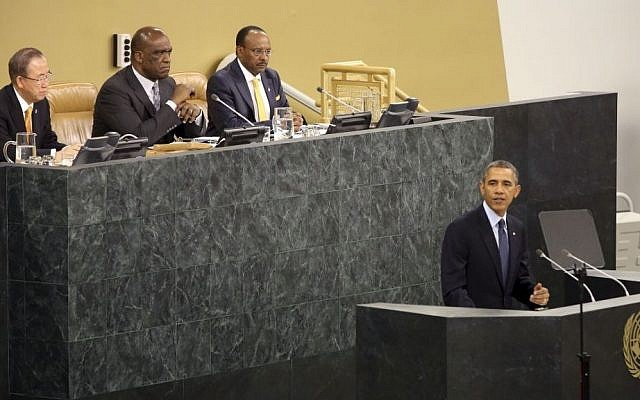 US President Barack Obama speaks during the 68th session of the General Assembly at United Nations headquarters, Tuesday, Sept. 24, 2013. (photo credit: AP Photo/Mary Altaffer)