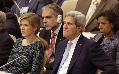 United States Ambassador to the United Nations Samantha Power, left, Secretary of State John Kerry, second from right, and National Advisor Susan Rice, right, listen while US President Barack Obama speaks during the 68th session of the General Assembly at United Nations headquarters. (photo credit: AP/Seth Wenig)