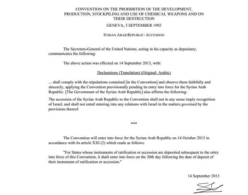 UN document showing Syria's accession to the Chemical Weapons Convention. (Photo credit: UN)
