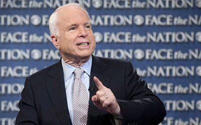 Senator John McCain of Arizona on CBS's 'Face the Nation,' in Washington, DC (photo credit: AP/CBS News, Chris Usher)
