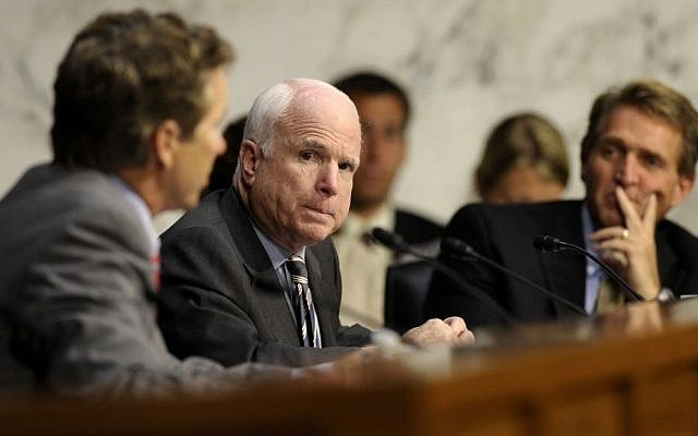 US Senator John McCain, center, listens during a hearing of the Senate Foreign Relations Committee on Capitol Hill, September 4. 2013. (AP/Susan Walsh)