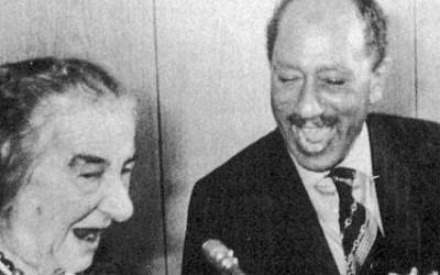 Golda Meir and Anwar Sadat (photo credit: Courtesy)