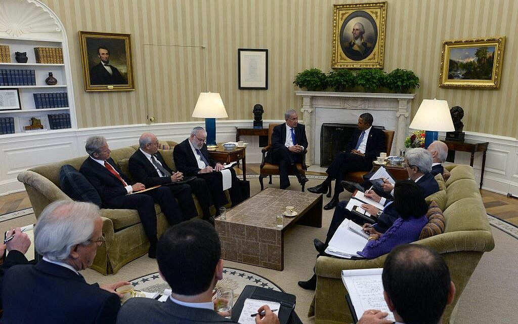 Benjamin Netanyahu and Barack Obama meeting with other officials at the White House Monday. (photo credit: Israeli Embassy in US via Twitter)