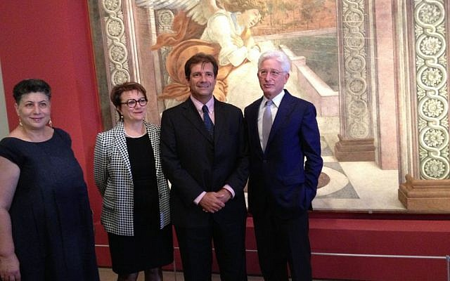 Israel Museum Curator Shlomit Steinberg, Italy-Israel Foundation for Culture director Simonetta Della Seta, Italian ambassador Francesco Maria Talo and Israel Museum director James Snyder in front of Sandro Botticelli's 'Annunciation' (photo credit: Jessica Steinberg/Times of Israel)