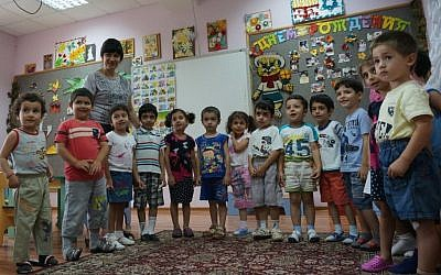 Children attend a Jewish kindergarten in Derbent, Russia. (photo credit: Cnaan Liphshiz/JTA)