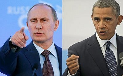 Russian President Vladimir Putin (left), and US President Barack Obama (right) (AP)