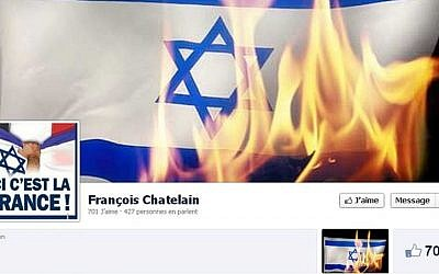Screen cap of suspended French National Front party candidate Francois Chatelain's Facebook page, September 4, 2013 (photo credit: Francois Chatelain/Facebook)