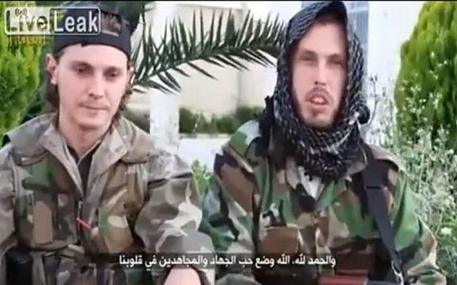 Illustrative photo of French-Muslim fighters in Syria calling for others to join jihad in recruitment video. (Photo credit: Screenshot/YouTube)