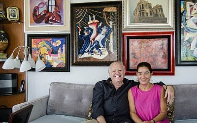 Ivan and Rebecca Gabor live in the 11th floor of an apartment in Sunny Isles, where they both paint modernist paintings and put them up on display on the walls. (photo credit: Gideon Grudo)
