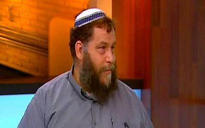 Benzi Gupstein, chairman of the Lehava anti-assimilation organization (screen capture: Channel 10)