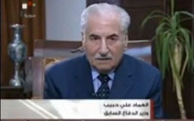 Former Syrian defense minister and army chief General Ali Habib appears on Syrian TV in August 2011 to quell rumors of his execution. Habib reportedly defected in September 2013, arriving in Turkey on September 3. (Photo credit: Screenshot/YouTube)