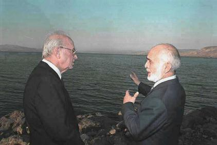 Prime Minister Yitzhak Rabin, left, and King Hussein shortly after signing the Israel Jordan Peace Treaty in 1994 (Photo credit: Yaakov Sa'ar/ GPO)