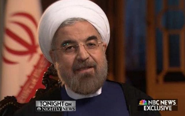 Screenshot from an interview Iranian President Hasan Rouhani gave to NBC News Wednesday September 18, 2013, his first to a US outlet since his election.