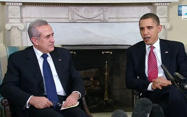 A meeting between US President Obama and Lebanese President Michel Sleiman in 2009. (screen capture: Youtube/infomisa)