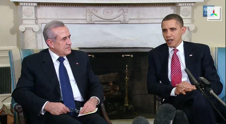 A meeting between US President Obama and Lebanese President Michel Sleiman in 2009. (screen capture: Youtube/infomisa)