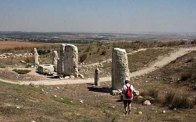 A walk along the standing stones (photo credit: Shmuel Bar-Am)