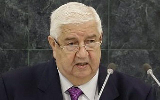 Syrian Deputy Prime Minister Walid al-Mouallem speaks during the 68th session of the General Assembly at United Nations headquarters, on Monday, September 30, 2013. (photo credit: AP/Seth Wenig)