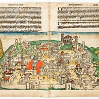 Leaves from Liber Chronicarum, a book by Hartmann Schedel, depicting the destruction of Jerusalem by the Romans. Print, woodcut and pigment on paper Germany, 1493. (photo credit: Ardon Bar-Hama)