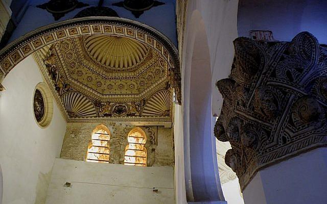 Detail of Toledo's Ibn Shushan Synagogue (photo credit: Roy Lindman, CC-BY-SA, via Wikipedia)