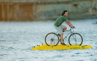 On September 27, Judah Schiller was the first person to cross San Francisco Bay on a water bike. (photo credit: Courtesy of Judah Schiller)