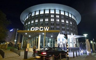 The headquarters of the Organization for the Prohibition of Chemical Weapons (OPCW) in The Hague, Netherlands (photo credit: AP/Peter Dejong)