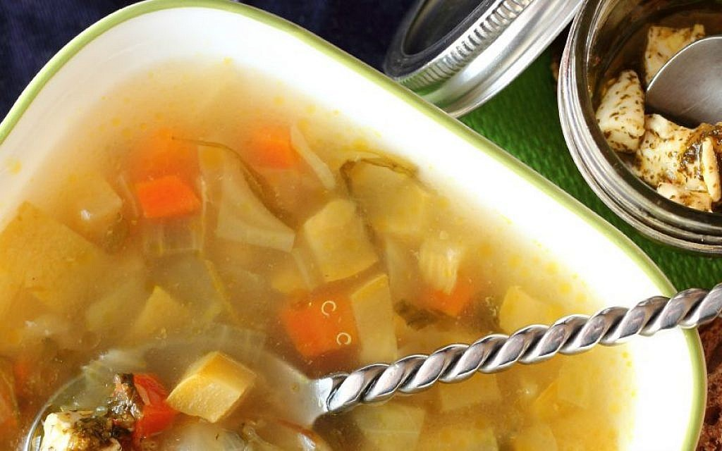 A warming soup of vegetables, quinoa and tzafatit cheese (photo credit: Andrea Brownstein/Photoli Photography)