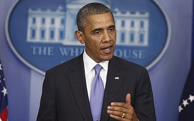 President Barack Obama briefs reporters at the White House in October. (photo credit: AP/Charles Dharapak)
