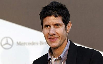 Musician Mike D arrives at Mercedes Benz's 'Transmission LA: AV CLUB' art exhibit at The Geffen Contemporary at MOCA in Los Angeles, Thursday, April 19, 2012. The exhibit was curated by Mike D of the Beastie Boys. (photo credit: AP Photo/Matt Sayles)