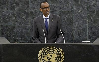 Paul Kagame, president of the Republic of Rwanda, addresses the 68th session of the General Assembly at United Nations headquarters, Wednesday, Sept. 25, 2013. (photo credit: AP/Mary Altaffer)