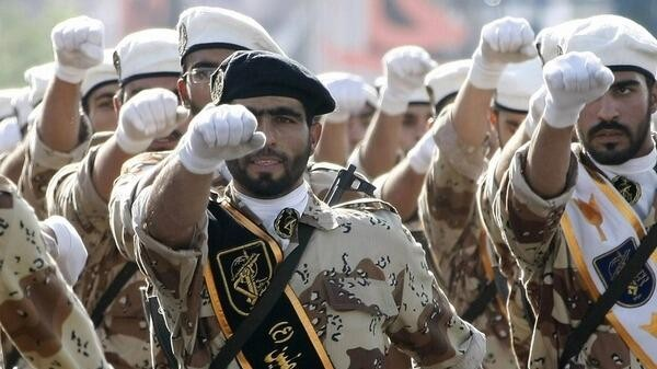 Illustrative photo of Iranian Revolutionary Guards (photo credit: @MidEastNews_Eng via Twitter/File)