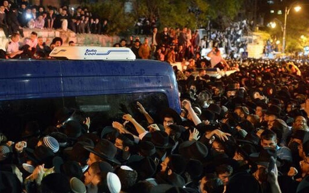 Hundreds of thousands attend the funeral procession for Rabbi Ovadia Yosef in Jerusalem Monday (photo credit: @GPOIsrael via Twitter)