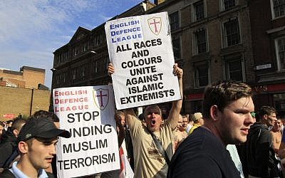 In this Saturday, Sept. 3, 2011 file photo, members of the English Defense League (EDL) gather for a rally in London. (photo credit: AP/Lefteris Pitarakis)