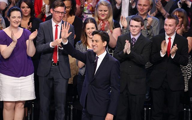 Labour leader Ed Miliband, gestures, as he makes his keynote speech to delegates, during his party's annual conference, Sept. 24, 2013. (photo credit: AP Photo/PA, Gareth Fuller)