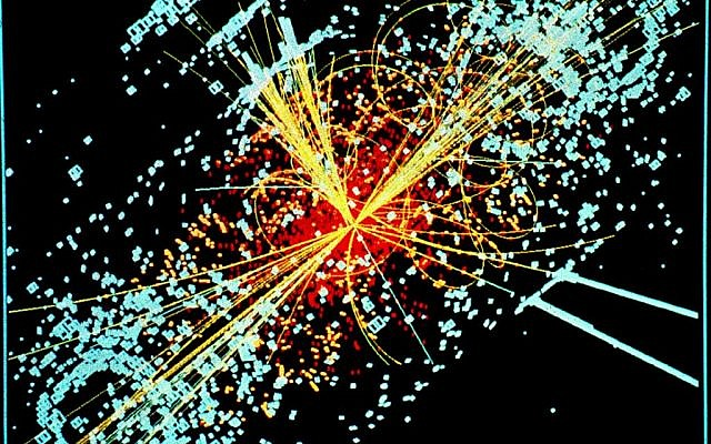 A simulated data projection of a Higgs boson collision (photo credit: CC BY Wikipedia)