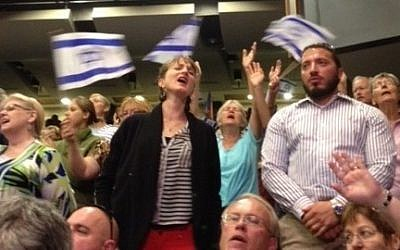 Christian Zionists at the 2013 Day of Prayer for the Peace of Jerusalem. (photo credit: Times of Israel/Lazar Berman)