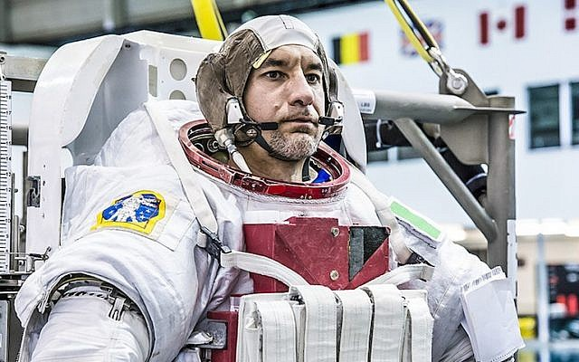Luca Parmitano prepares for a simulated spacewalk while training for his International Space Station mission at NASA's Johnson Space Center in Houston, Texas (Photo credit: Courtesy NASA)