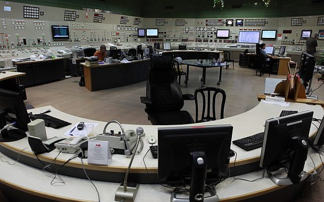 View from inside an Israel Elecric Corporation control room in Hadera. IEC is the main supplier of electrical power in Israel. August 11, 2011. (photo credit: Yaakov Naumi/Flash90)