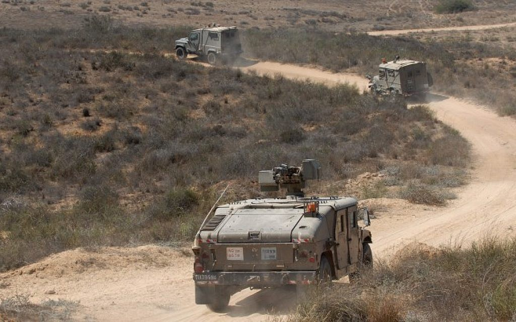 Illustrative photo of IDF patrol vehicles (Gili Yaari/Flash90/File)