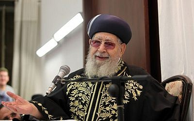 Rabbi Ovadia Yosef in Jerusalem, September 2012 (photo credit: Flash90)