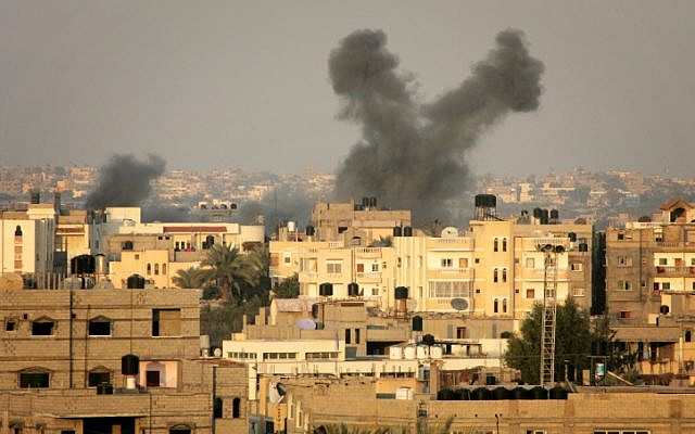 Smoke billows after an Israeli airstrike in the southern Gaza Strip in 2012. (photo credit: Abed Rahim Khatib/Flash 90)