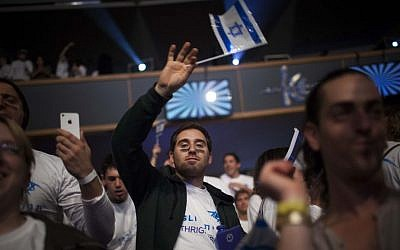 Young Jewish adults from all over the world participating in the Taglit Birthright program celebrate 10 years of the Birthright program at an event held at the International Conference Center in Jerusalem, January 7, 2013. (photo credit: Yonatan Sindel/Flash90)