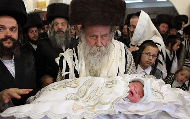 A ritual circumcision ceremony in Jerusalem (photo credit: Yaakov Naumi/Flash90/File)