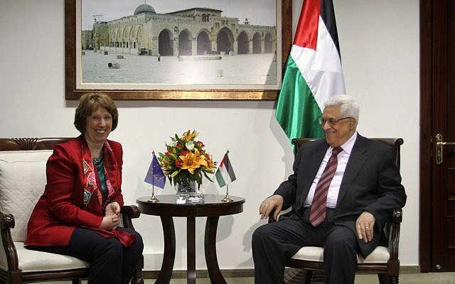 Palestinian Authority President Mahmoud Abbas meets with EU Foreign Policy Chief Catherine Ashton in the West Bank city of Ramallah, June 19, 2013 (photo credit: Issam Rimawi/Flash90)