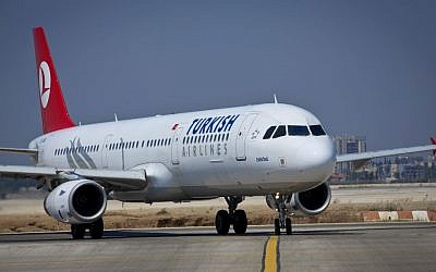 Illustrative: A Turkish Airlines flight on the runway at Ben Gurion International Airport, August 3, 2013. (photo credit: Moshe Shai/Flash90)