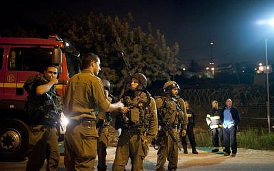 IDF forces in Psagot Saturday night. (photo credit: Flash90)